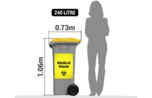 clinical waste bin sizes for Ipswich waste services
